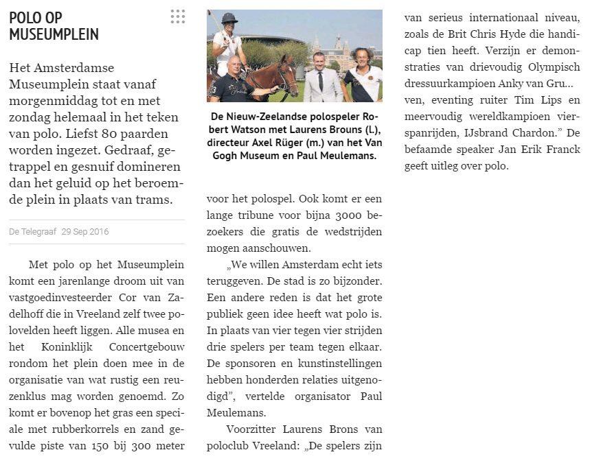 Museumplein Polo Amsterdam - In de media