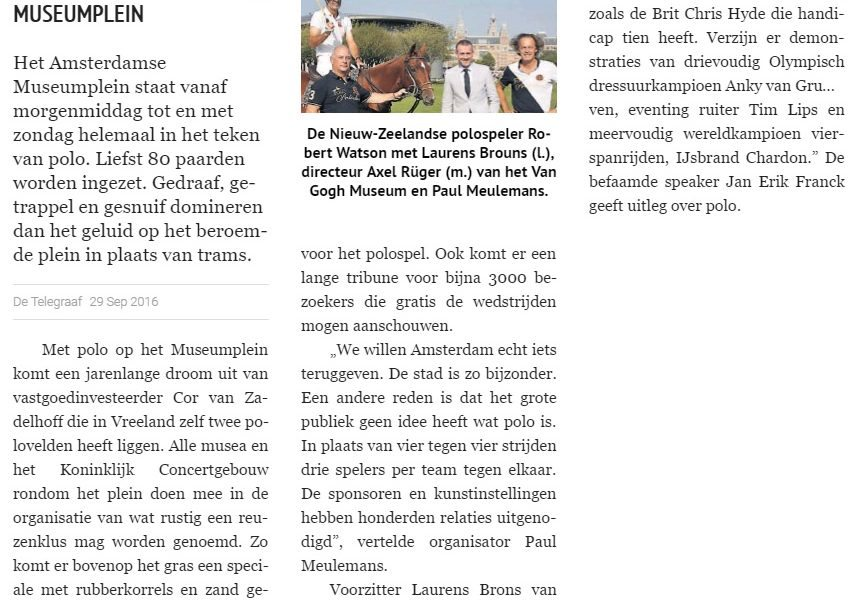 Museumplein Polo Amsterdam - In de media